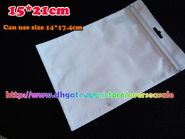 Wholesale 21 cm White Zip Zipper Retail Package Packing Bag Bags For Big Mobile Phone Leather case cover External Power Bank Charger