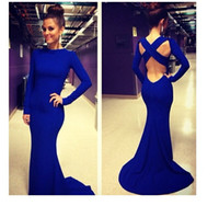 2014 Autumn Sexy Women' s Maxi Bandage Dress Blue floor-...