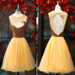 Wholesale 2015 Real Image Gold Organza Homecoming Dresses Crew Neck with Appliques Beads Sheer Backless Pleats Mini Short Prom Graduation Dresses SU02