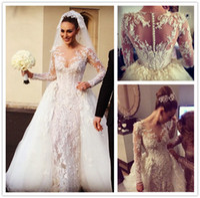 Wholesale Gorgeous Lace Applique Sheath Wedding Dresses Beads Pearls Sequins Sheer Jewel Neck Long Sleeves Detachable Train Bridal Gown