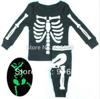 Wholesale kids clothes Children s pajamas boys Sleepwear kids sleeping suit boys Luminous skeleton suit s l