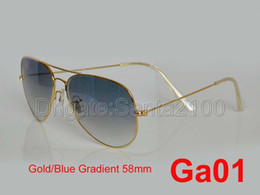 Wholesale 1pcs Designer Classic Pilot Gradient Sunglasses Mens Womes Glasses Eyewear Gold Blue mm Glass Lenses Exceptional Quality Characterized