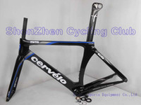 Cheap Black&Blue S5!Cervelo S5 VWD Bike Frame set Aero Tube Carbon Bike Fram Cervelo RCA R5 BBright DI2 full carbon Fiber Road Bicycle