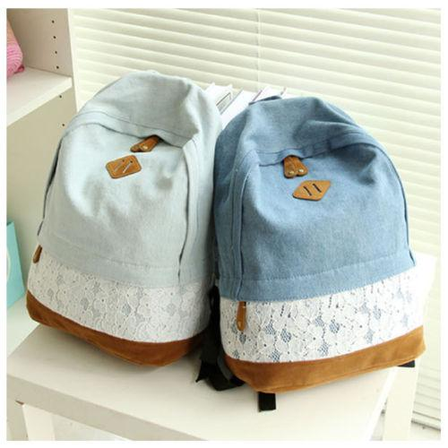 Cute Girls Women'S Vintage Denim Satchel Backpack Rucksack ...