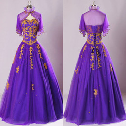 Wholesale 2014 Real Image Vintage Purple Prom Dresses Sweetheart Gold Appliques Pleats Sheer Bolero Lace Up Back Organza Quinceanera Dresses SU40