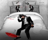 Venda quente Michael Jackson cama impressão reativa definir 100% da folha de cama tecido de algodão duvet / quilt cobertura colchas 4 / 5pc conjuntos de cachecol rainha