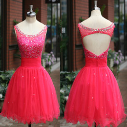 Wholesale 2014 Hot Pink Organza Homecoming Dresses Real Image Scoop Sequins Beads Crystal Sheer Backless Pleats Short SSJ Prom Graduation Dresses SU03