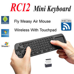 Wholesale Touchpad Measy Mini Fly Air Mouse RC12 G Wireless Keyboard Gyroscope Game Handheld Remote Control for Android Mini PC TV Palyer Box Stick
