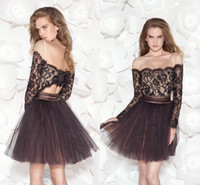 Wholesale Latest Sexy Lace Cocktail Dress With Bateau Long Sleeve Spaghetti Straps Mini A Line Short Prom Dress Party Dress Custom Made