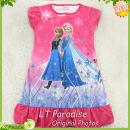 Wholesale New Girls Nightgown Summer Frozen Pajamas Nightgowns Kids Pajamas Cartoon Princess Children Sleepwear Girl Clothing Years