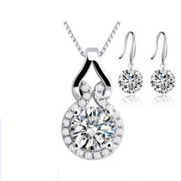 Wholesale Crystal Jewelry Sets Luxury Naked Crystal Earring Necklace Sets Sterling Silver with Platinum Plated OS25