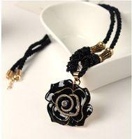 Wholesale Women s Elegant Black D Flower Dressing Necklace Long Rope18k Rose Gold Plated Metal with Plastic Rhinestone Flower Pendant