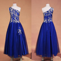 Wholesale 2014 Royal Blue Glitz Girls Pageant Dresses One Shoulder A Line Full Length Tulle Beaded Crystal Long Party Gown Quinceanera Dress SU31