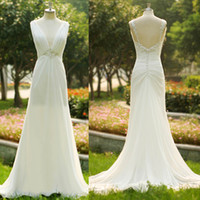 Wholesale 2016 A line Cheap Wedding Dresses Plunging V Neck Chiffon Backless With Covered Button Beaded Bridal Gown Vestidos do noiva SU38