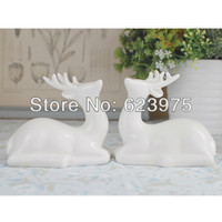 Wedding ceramic pieces - 2 Piece Pack Reindeer Sculpture Ceramic Wedding Cake Topper