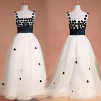 Wholesale 2015 Little White organza floor length wedding flower girls dresses with black appliques spaghetti straps girl s pageant gowns SU29