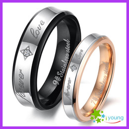 Stainless Steel Lovers' Finger Circle Inlaid Crystal CZ Couple Rings Plating 18k Rose Gold Wedding Band Engagement Gift Alliance Sizes 5-12