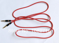 Wholesale 2 Article Red Double end Straight mm Pole male to male stereo Headphone Connect cable audio cord car AUX input cm ft