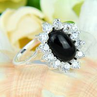 black onyx rings - 2pcs Bulk Price Christmas Gift Sterling Silver White Zircon Around Black Onyx Gems Ring R0145