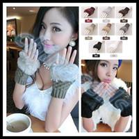 Wholesale woman elasticity winter hand warmer fingerless gloves knitted fur trim keyboard gloves mitten soft half fingers faux fur mitten