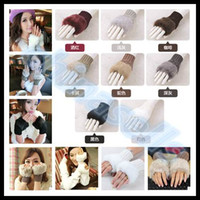 Wholesale free ship woman elasticity winter hand warmer fingerless gloves knitted fur trim keyboard gloves mitten soft half fingers faux fur mitten