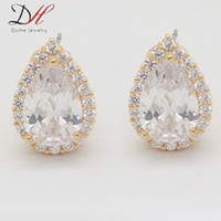Wholesale Daihe ER2282 Zircon Make Teardrop Clip On copper stud Earrings