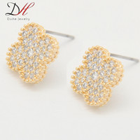 Wholesale Daihe ER2286 Cubic Zirconia Micro Pave Cross Stud Earrings mm