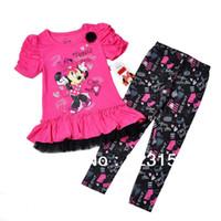 Cheap Wholesale-2013 New Girls Autumn Set Children Minnie Mouse T-shirt +floral legggings Girls Suit 4ets lot for 4-7Y Children
