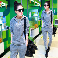 Cheap 2014 autumn female Korean version of the new women's cotton suits thin gray casual pants two-piece long sleeve sweater
