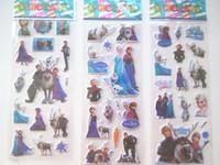 Wholesale Frozen Design Kids Cute PVC Puffy Stickers sheet Cartoon Craft Scrapbook Stickers Designs