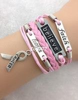 Cheap 3pcs Love,faith,believe and Breast Cancer Awareness Charm Bracelet in Silver - Breast Cancer Awareness 1726 Min order 10$