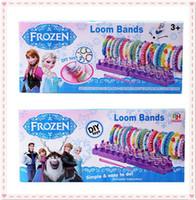 Cheap 2014 Frozen Fun colourful loom bands DIY bracelets rubber rainbow band Anna Elsa bracelet the gift toy for children via DHL (05001)