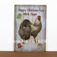 art chickens - Mike86 Happy Chickens Lay more eggs Tin sign Art wall decor House Cafe Bar Vintage Metal sign AA Mix order CM