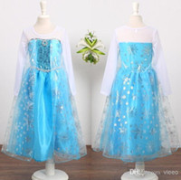 Cheap pre-order frozen princess clothing girls guaze dress frozen princess party dress frozen elsa snow queen costume dress C006