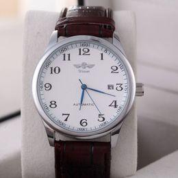 Fashion Brand Winner Luxury Leather Strap Dress Automatic Mechanical Self Wind Men Analog Watch Auto Date For Men Watch