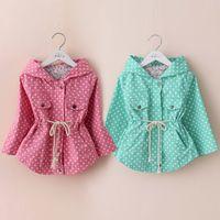 Cheap 2014 fall and winter clothes new Korean models Polka Dot Girls hooded long-sleeved windbreaker jacket coat wt-3075