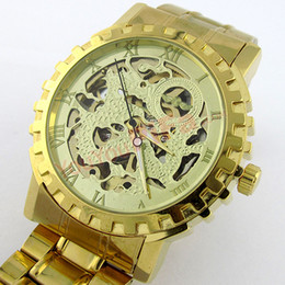 gold Strap Stainless Steel Skeleton Dial Winner Mechanical Watch Man Gold Mechanical Wrist Watch Free Shipping