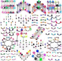 Wholesale Stainless Steel Acrylic Body Jewelry UV Barbell Piercing Body Piercing Jewelry Mixed