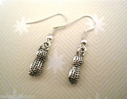 Wholesale Earring Antique Silver CUTE PEANUT NUT SP Earrings ROCKABILLY TATTOO pair ab540