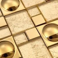Wholesale Magic pattern Gold Glass Kitchen Backsplash tiles Ideas Bathroom Walls pool bar hotel room remodling porcelain discounted tiles