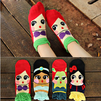 women cute socks - HOT women stereoscopic laciness bowknot Mermaid princess Snow White Princess Jasmine Princess Fiona pure cotton cute cartoon short socks