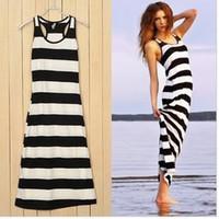 Cheap 2013 Free Shipping Women Classic Black & White Stripe Sleeveless MidCalf Maxi Boho Dress,Ladies O-Neck Cotton Casual Vest Dress