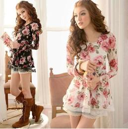 2014 new Korean version of sweet tutu dress shirt Slim stylish long-sleeved floral dress