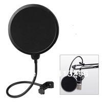 Wholesale 200pcs Studio Microphone Mic Pop Screen Wind Windscreen Filter Mask Shield Flexible Filters Black Color FREE FEDEX DHL Shipping