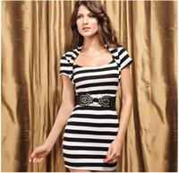 Cheap 2014 New Fashion Summer Women Slim Dress Short Sleeves O-neck Striped Casual Sexy Lady Vestido Belt 90% Polyester 10% Spandex