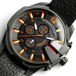 Wholesale Explosive with promotion mens watches top brand luxury leather oversized dual time zone fashion sport watches for