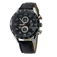 Cheap Free shipping 2014 top 89009 Fashion Round Black Dial Leather Band Decorated with Sub-Dials and Date Display Quartz Men's Watch