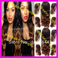 Cheap Bleached Knots Fashion Celebrity Ombre Two Tone Color Peruvian Virgin Hair Human Hair Full Lace Wig Front Lace wig