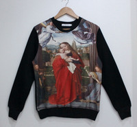 Wholesale Jesus Christ Saint Son Mary Paintings Sublimate Print Newborn Christ Women Men Sweatshirt Hoodies Thicken Fleece Warm