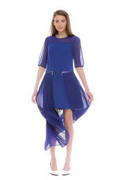 New 2014 Summer Fashion Women Elegant Chiffon Long Dress Zipper Patchwork Casual Pleated Dress Black and Blue 2655